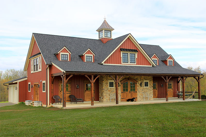Custom timber frame homes gallery vintage homes and millwork for Hybrid timber frame home plans