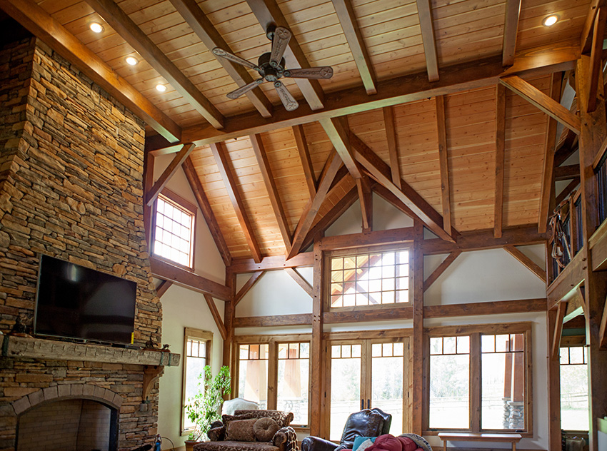Build your dream timber frame home vintage homes and for Timber frame great room
